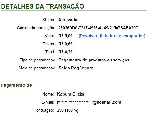 pagamento kabum click