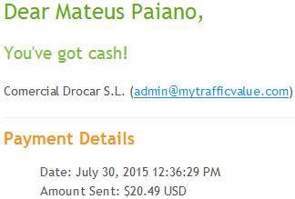 24º Pagamento Paidverts $20 31 Julho 2015