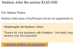 1º Pagamento NobleBux $3,65 08 Agosto 2015