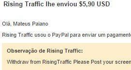 1º Pagamento Rising Traffic $5 27 Agosto 2015
