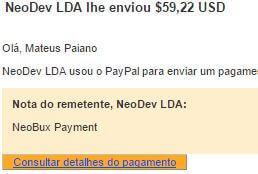 17º Pagamento Neobux $59 24 Agosto 2015