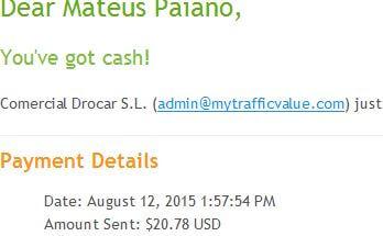 25º Pagamento Paidverts $20 12 Agosto 2015