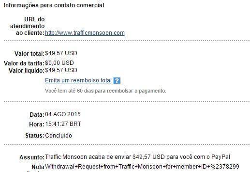 43º Pagamento Traffic Monsoon $49 05 Agosto 2015