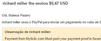 5º Pagamento My6Clix $9,47 02 Agosto 2015