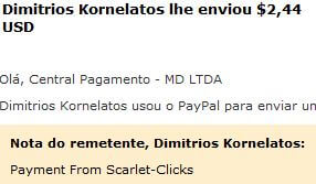 7º Pagamento Scarlet Clicks $2 19 Agosto 2015