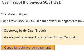 8º Pagamento CashTravel $0,50 31 Agosto 2015