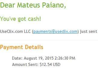 8º Pagamento UseClix $12 20 Agosto 2015