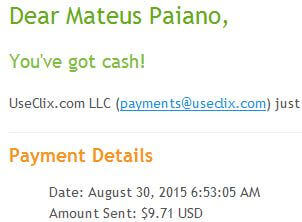 9º Pagamento UseClix $9 30 Agosto 2015