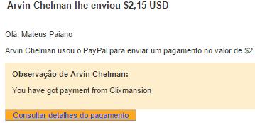 2º Pagamento Clixmansion $2 04 Setembro 2015