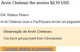 3º Pagamento ClixMansion $2 09 Setembro 2015