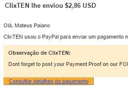 2º Pagamento ClixTen $2,8 10 outubro