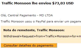 54º Pagamento Traffic Monsoon $73 14 Outubro
