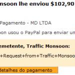 57º Pagamento Traffic Monsoon $102 29 Outubro