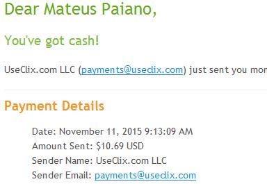 13º Pagamento UseClix $10,69 11 novembro