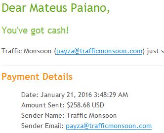 70º Pagamento Traffic Monsoon $258 26 Janeiro 2016