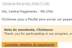 51º Pagamento ClixSense $136 26 agosto 2016