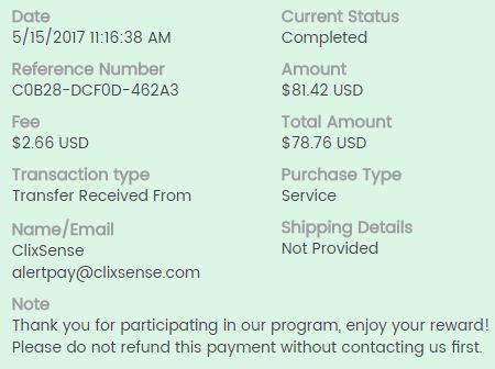 82º Pagamento ClixSense $81 17 Maio 2017