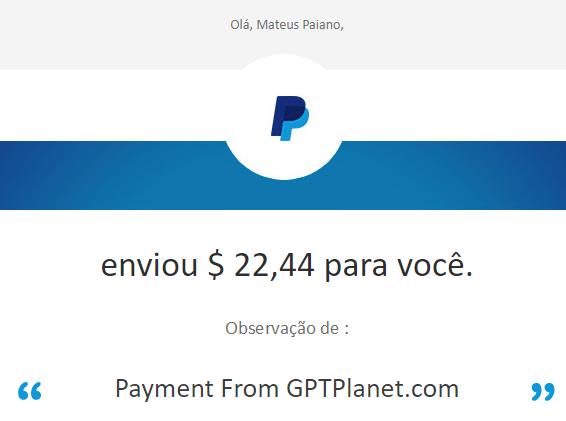 37º Pagamento GPTPlanet $22 13 Novembro 2017