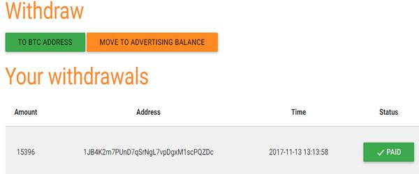 prova de pagamento no site