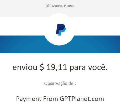 38º Pagamento GPTPlanet $19 08 Dezembro 2017