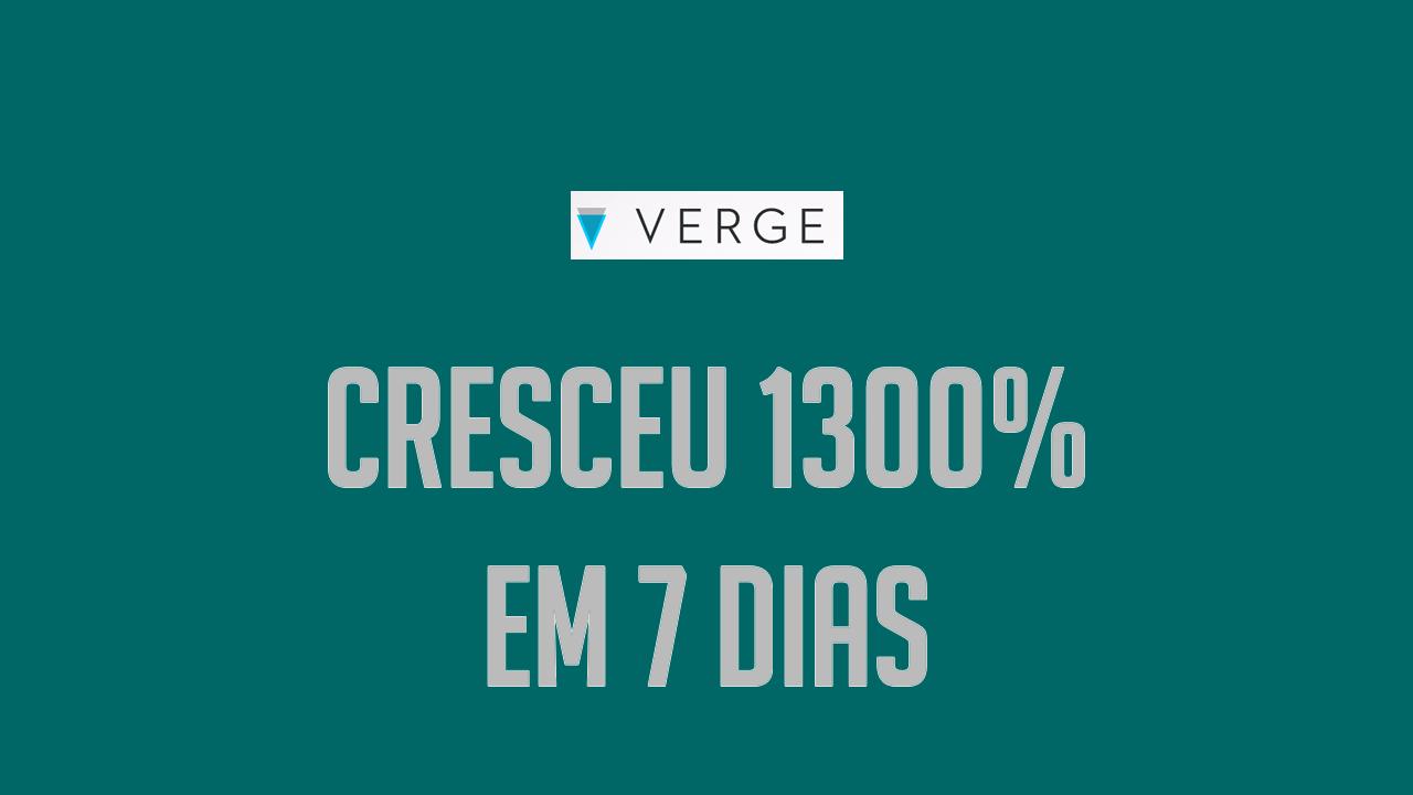 Verge XVG Cresceu 1300% nos últimos 7 dias