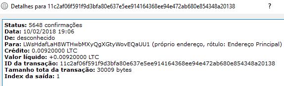 1º Pagamento FaucetHub Litecoin 0.009 LTC Fevereiro 2018