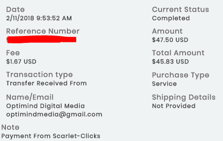 1º Pagamento Scarlet Clicks vai Payza $47 11 Fevereiro