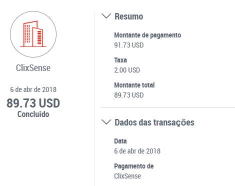 1º Pagamento ClixSense via Payoneer $91 Abril 2018