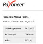 102º Pagamento ClixSense $101 24 Abril 2018