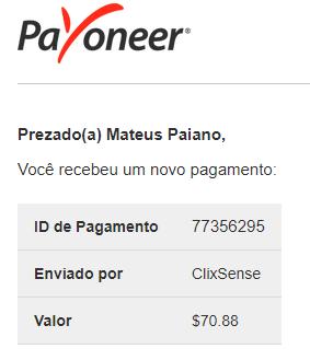 104º Pagamento ClixSense $70 Maio 2018