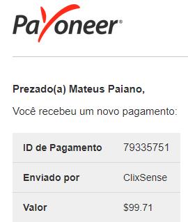 105º Pagamento ClixSense $99 junho 2018