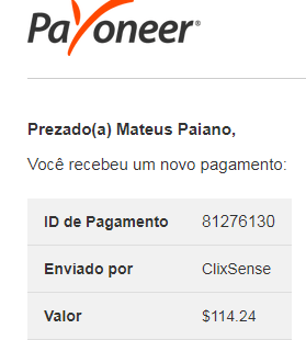 106º Pagamento ClixSense $114 Junho 2018