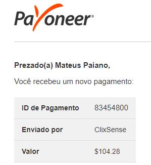 107º Pagamento ClixSense $104 Julho 2018