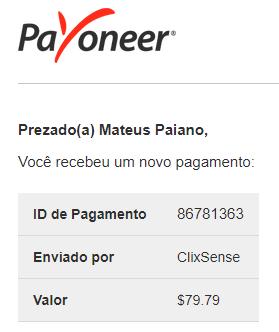 108º Pagamento ClixSense $79 Agosto 2018
