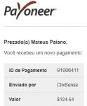 Pagamento ClixSense $124 Setembro 2018