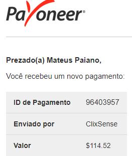 Pagamento ClixSense $114 Outubro 2018