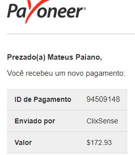 Pagamento ClixSense $172 Outubro 2018