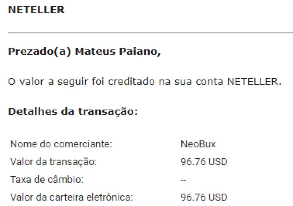 Pagamento Neobux $99 Outubro 2018
