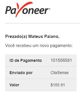 114º Pagamento ClixSense $155 novembro 2018