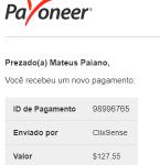 Pagamento ClixSense $127 novembro 2018