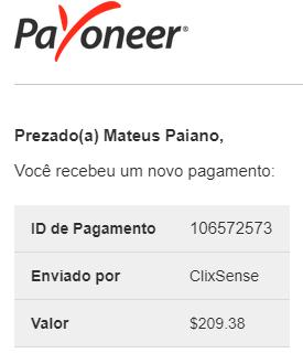 Pagamento ClixSense $209 Dezembro 2018