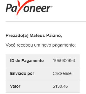 Pagamento ClixSense $130 Janeiro 2019