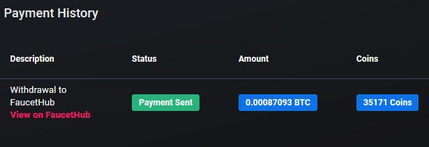 1º Pagamento Cointiply 0.00087 BTC março 2019