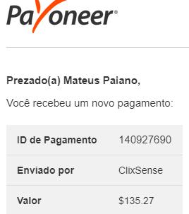 Pagamento ClixSense $135 Julho 2019