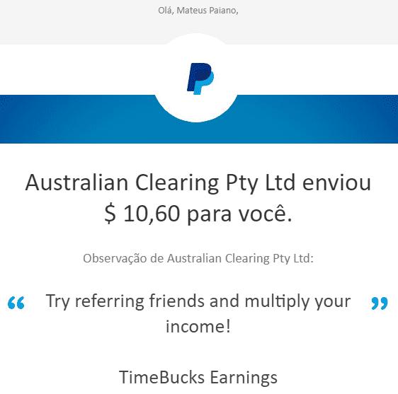2º Pagamento TimeBucks $10 setembro 2019