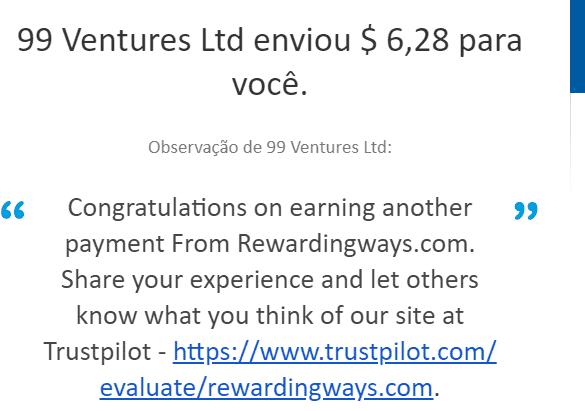3º Pagamento Rewarding Ways 6 Outubro 2019