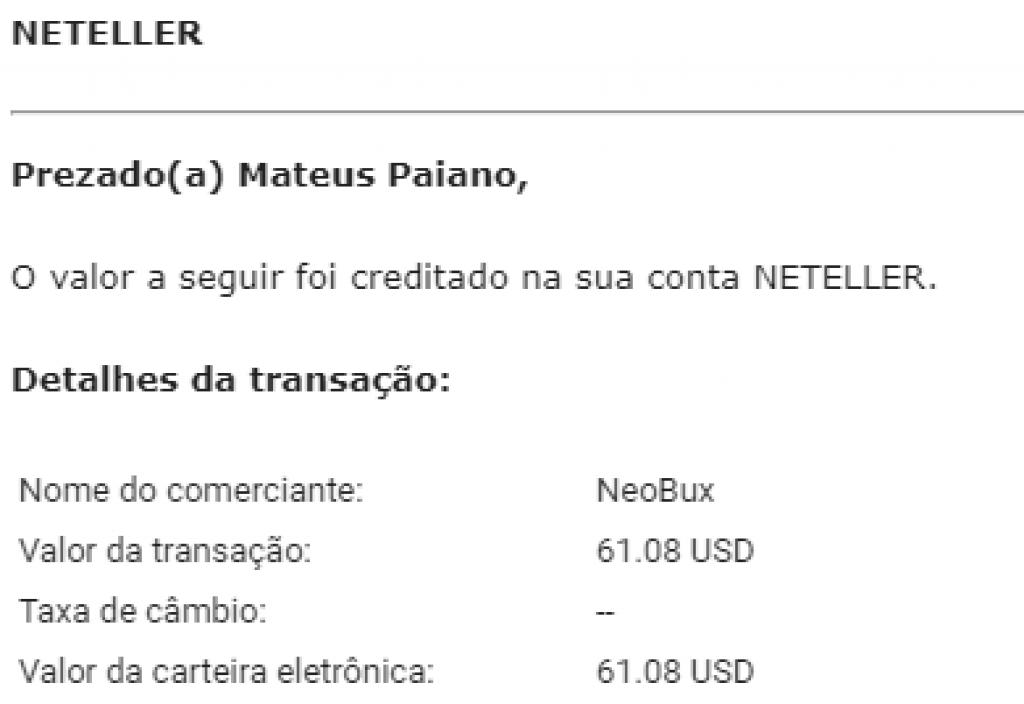 Pagamento Neobux 61 Novembro 2019