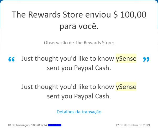 Pagamento Ysense 100 Dezembro 2019