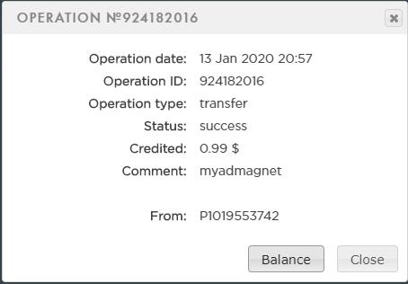 1º Pagamento Myadmagnet 1 Payeer