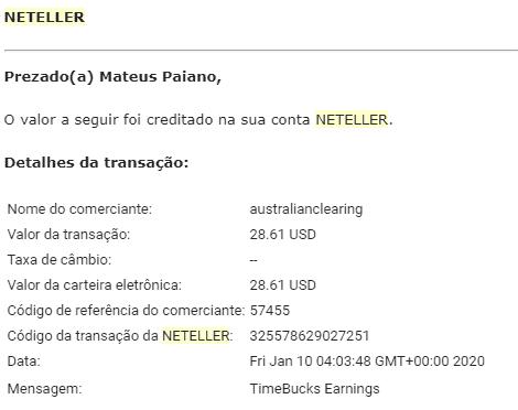 Pagamento Timebucks 28 Janeiro 2020